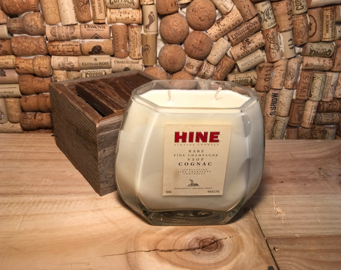 FREE SHIPPING! Hine Champagne Cognac soy candle, Fruity Bergamot scent. Double wick!