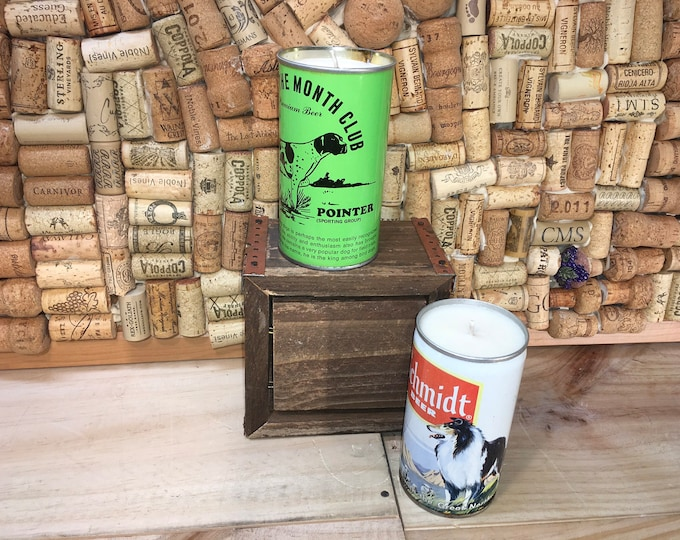 FREE SHIPPING! Vintage Dog Beer Can Candle, Schmidt Collie Can