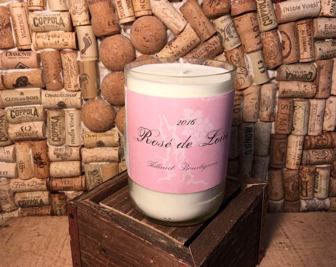 FREE SHIPPING! Rose de Loire wine bottle Soy candle, Lavender Eucalyptus scent