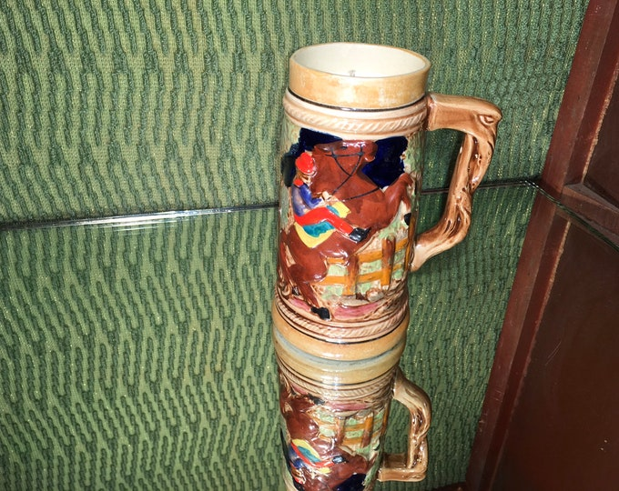 FREE SHIPPING! Vintage large ceramic beer stein with a horse and rider, Soy Gypsy Spirit scent