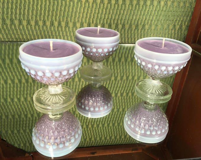 FREE SHIPPING!  Vintage Hobnail Milk Glass w a Zen Candle