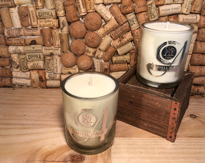 FREE SHIPPING! Castell D'Age Brut Rose wine bottle Soy candle, Lavender Eucalyptus scent
