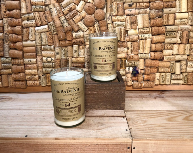 FREE SHIPPING! Soy candle in a Balvenie Scotch Whiskey Bottle, choose your scent