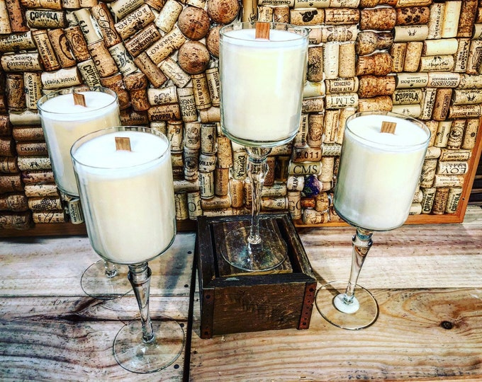 Free shipping!  Wine Glass w Girl Gang scent, Wood Wick Soy Candle
