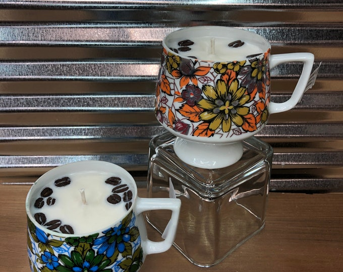 FREE SHIPPING! Pair of Vintage Floral Mugs, Soy Hazelnut Coffee scented candle