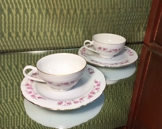 FREE SHIPPING! Pair of Vintage Czech Bohemian Tea Cups and Saucers, pink floral