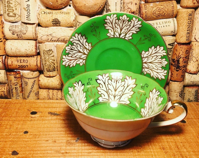 FREE SHIPPING! Vintage Diamond Occupied Japan Green Tea Cup and Saucer