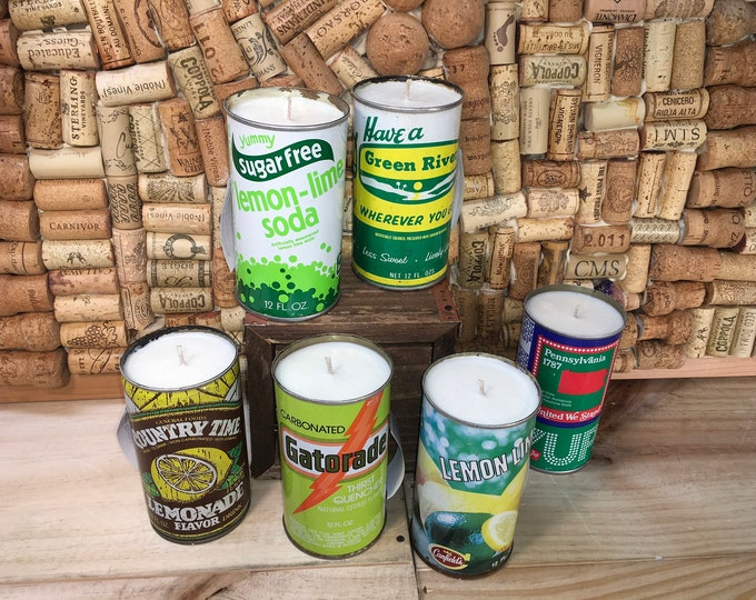 FREE SHIPPING! Vintage Soda Pop can soy candle, Choose your can, Lemon Eucalyptus scent