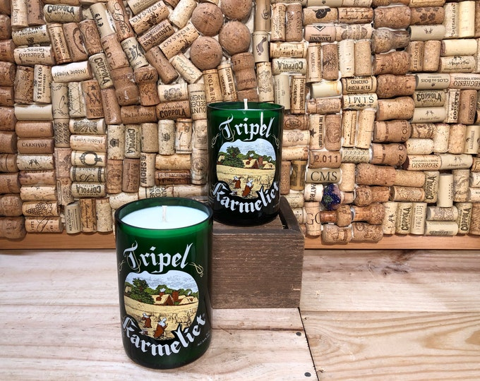 FREE SHIPPING! Soy candle in a Belgin Tripel Karmeliet Beer Bottle in Forest Floor scent