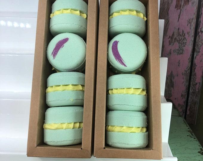 Macaron Bath Bomb Boxed Set, Sweet Basil Bergamot Scent