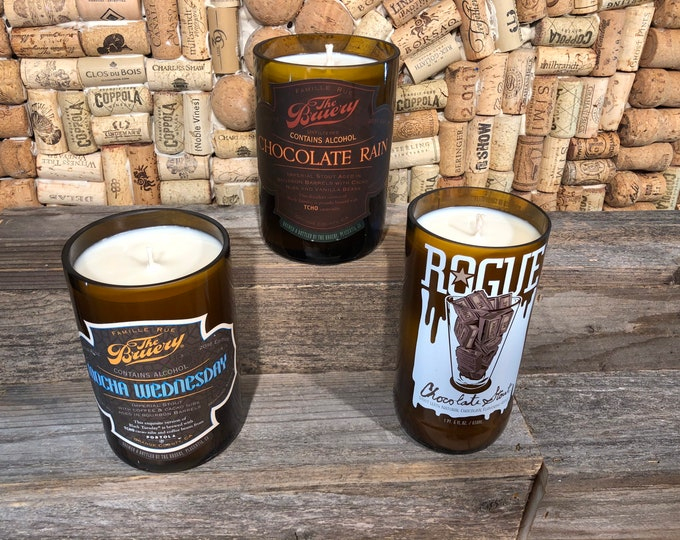 Chocolate Coffee Mocha scented soy candles in recycled beer bottles, Choose your label, free shipping