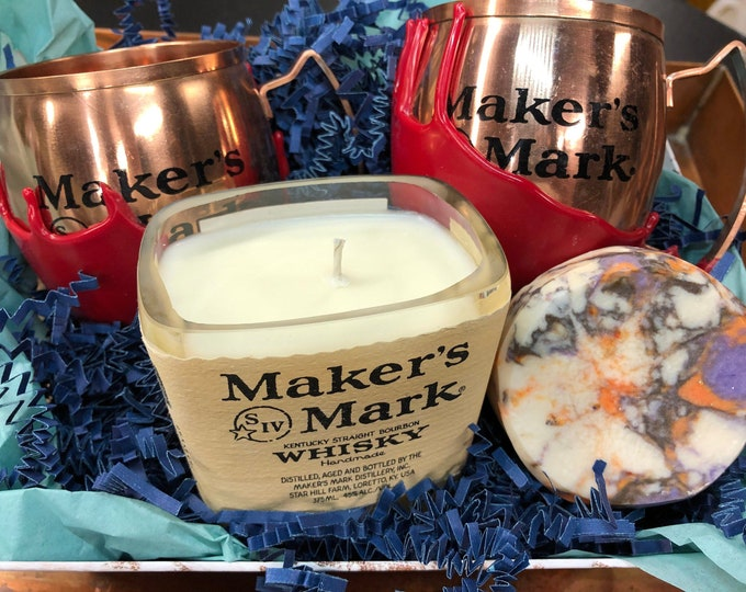 Whiskey Lovers Gift Set, Soap, Candle, Mugs