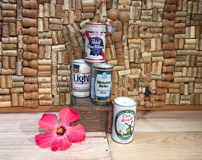 FREE SHIPPING! Vintage 1970's Beer Can Candle Champagne Cocktail Scent, Choose your can