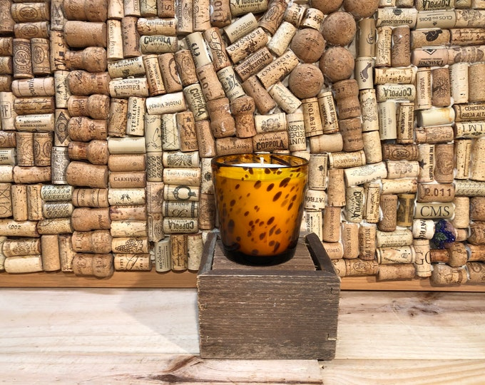 SHIPS FREE! Leopard print amber glass filled with our Girl Gang scented soy candle