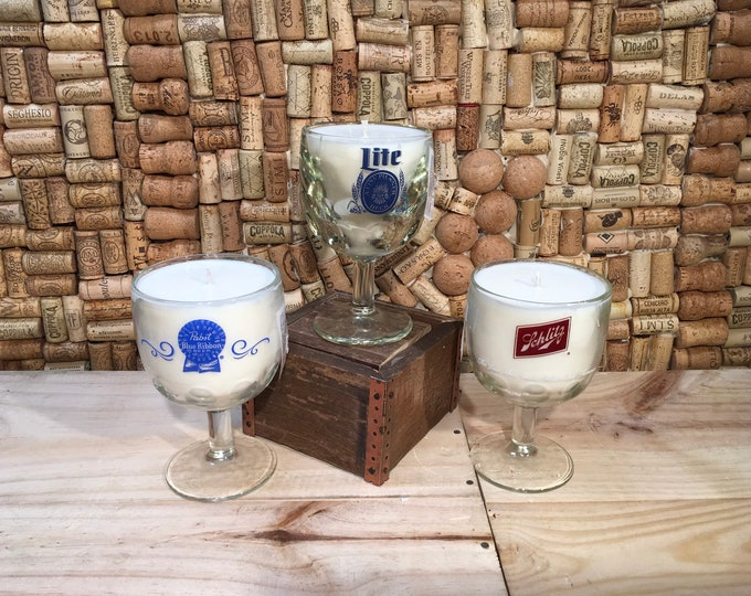 Free Shipping! Vintage Schlitz,  or Light Beer Goblet with a Leather scented soy candle