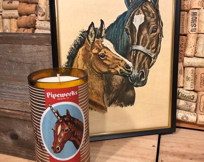 SHIPS FREE! Pipeworks Unicorn recycled beer bottle filled with our Girl Gang scented soy candle