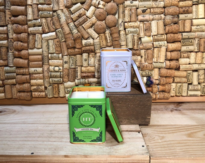 FREE SHIPPING! Harney and Sons Tea Tin with a Soy Candle, Choose your scent