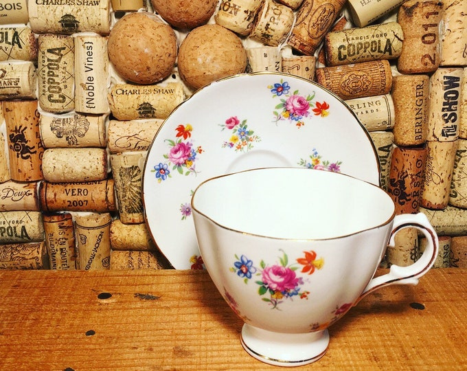 FREE SHIPPING! Rare Floral Cup and Saucer by Spencer Stevenson #203