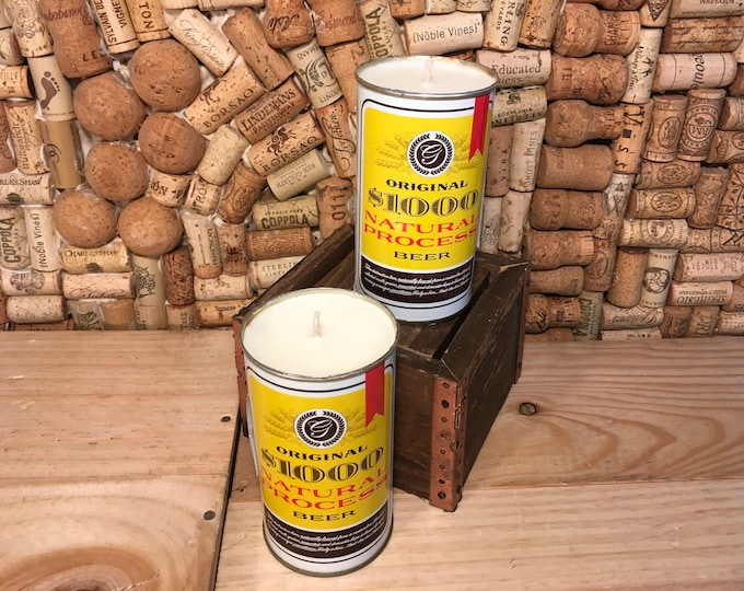 FREE SHIPPING! 1970's 1000 natural process Beer Can Candle, Milwaukee WI, Choose your scent