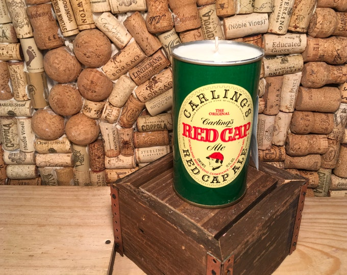 FREE SHIPPING! Vintage Red Cap Beer Can Candle Soy Indian Sandalwood scent
