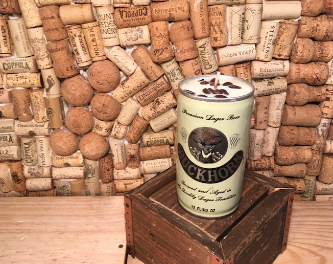 FREE SHIPPING Vintage Buckhorn Beer Can Candle Soy Hazelnut Coffee scent