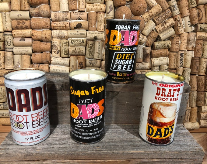 FREE SHIPPING! Vintage Soda Pop Dad's can soy candle, Choose your can, Amber & Caramel scent