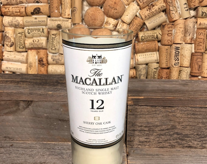 FREE SHIPPING! Macallan Scotch Whiskey soy candle, Smoky Embers scent