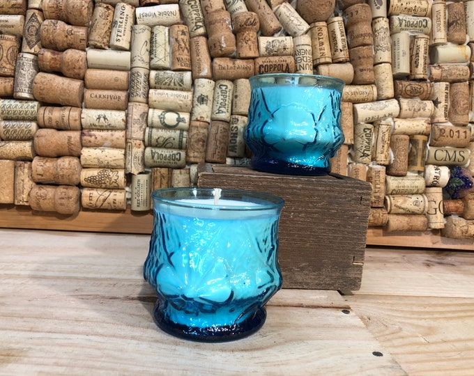 SHIPS FREE! Vintage Blue Floral Glass Filled With our Girl Gang scented soy candle