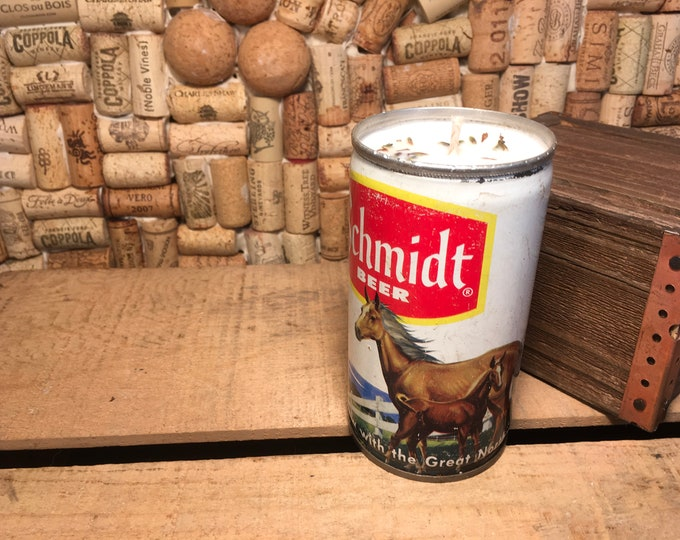 FREE SHIPPING! Vintage Schmidt Horse Beer Can Candle, Lavender scent
