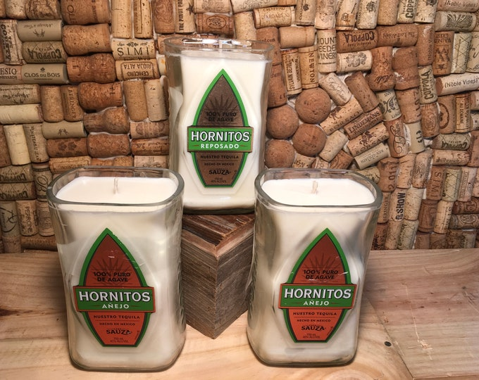 FREE SHIPPING! Soy candle in a Hornitos Tequila Bottle, choose your scent