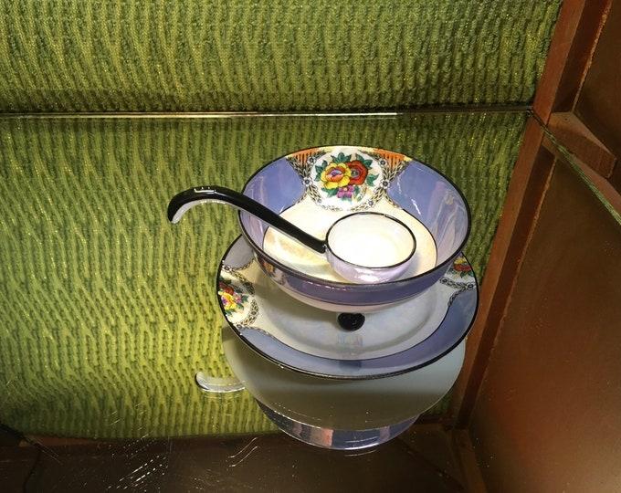 FREE SHIPPING! Three peice Noritake Mayo Condiment floral dish set, Lusterware