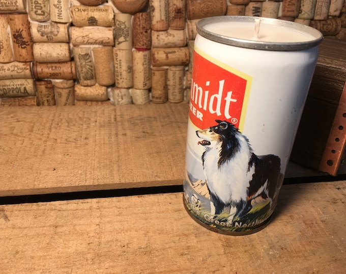 FREE SHIPPING! Vintage Schmidt Collie Sheep Herding Beer Can Candle various scents