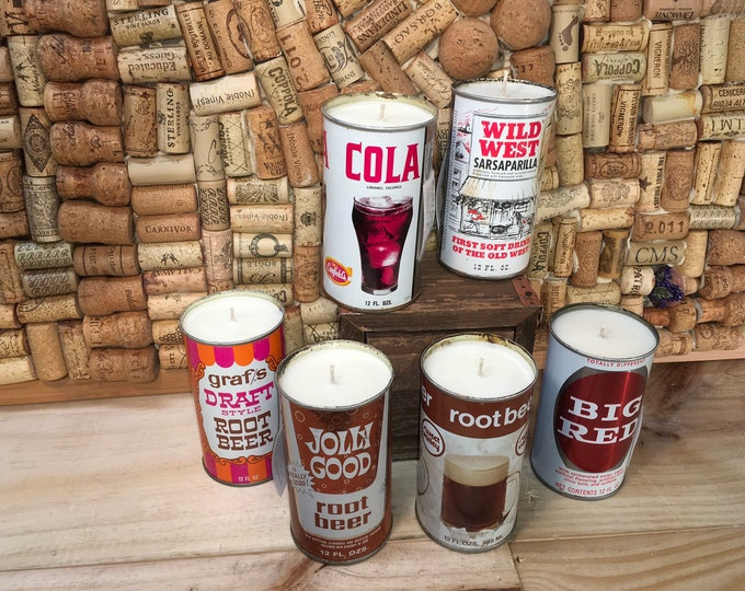 FREE SHIPPING! Vintage Soda Pop can soy candle, Choose your can, Smoky Embers scent