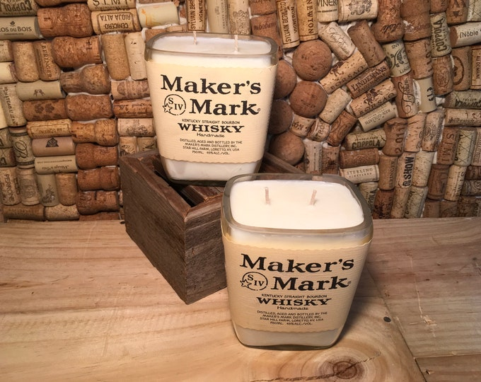 FREE SHIPPING Makers Mark Whiskey soy candle, choose your scent. Double wick!