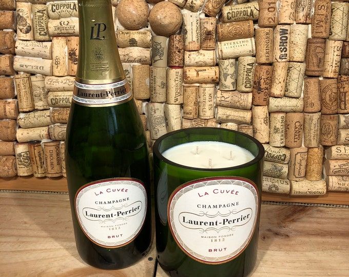 FREE SHIPPING!  Large Format Laurent Perrier Champagne La Cuvée Bottle, Champagne Cocktail Scented Candle