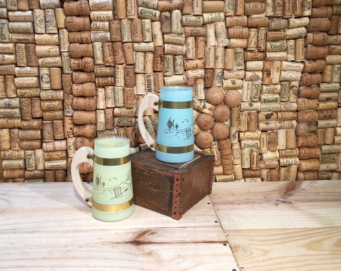 FREE SHIPPING! Pair of Siesta Ware glass Tiki mugs with wooden handles