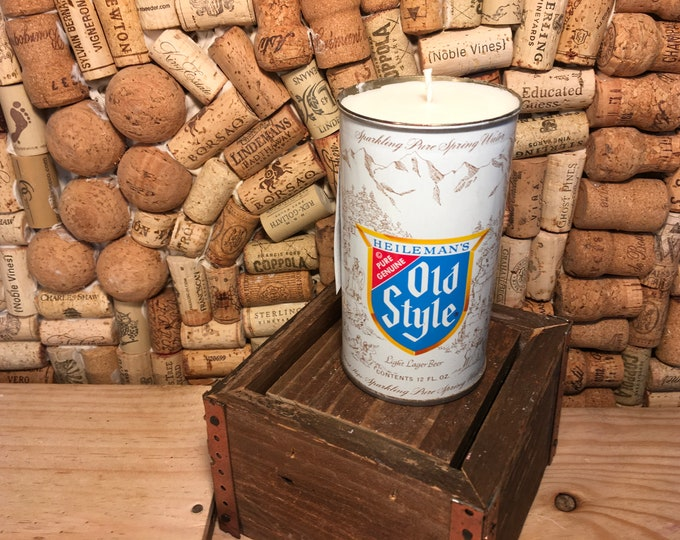 FREE SHIPPING! 1970's Old Style Beer Can Candle, soy Lemon Eucalyptus scent
