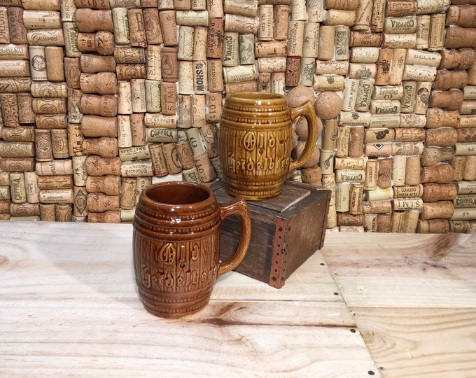 FREE SHIPPING! Pair of Vintage Heidelberg ceramic retro TIKI mugs