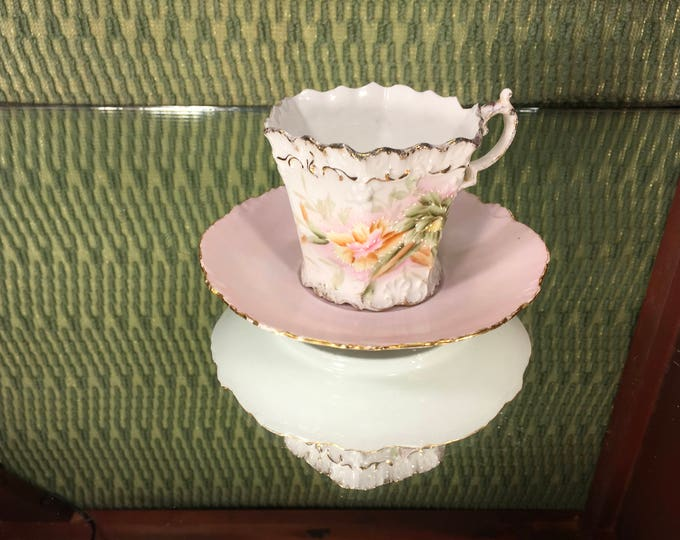 FREE SHIPPING! Floral China Tea Cup and Saucer Mix-N-Match Set, Versallies saucer with Pink Scalloped edge Tea Cup, Mismatched