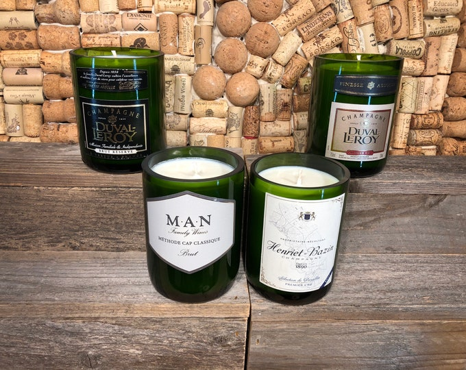 FREE SHIPPING!  Champagne  Bottle Candle, Champagne Cocktail Scent, choose your label.