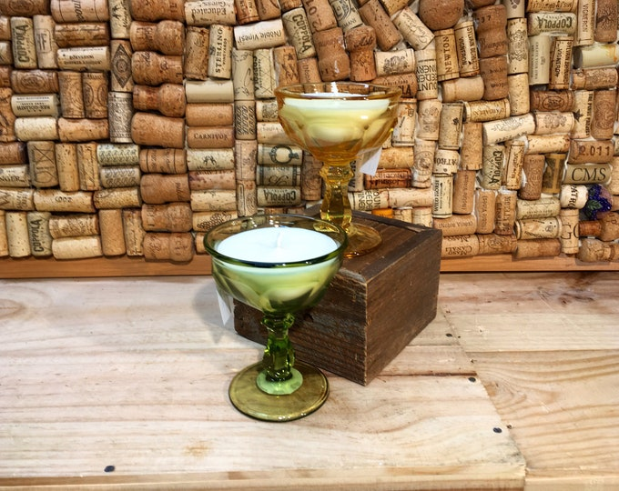 Free shipping! Pair of Vintage Champagne Coupe Glasses with a Forest Floor Soy Candle