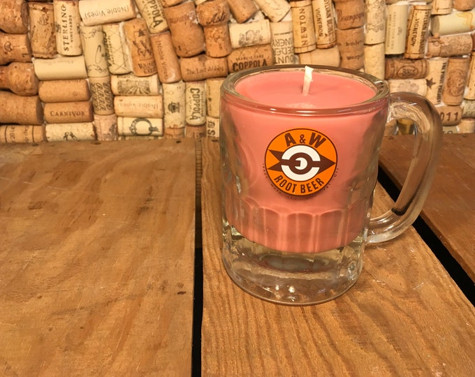 FREE SHIPPING! Vintage A&W mug with a Soy Indian Sandalwood Candle