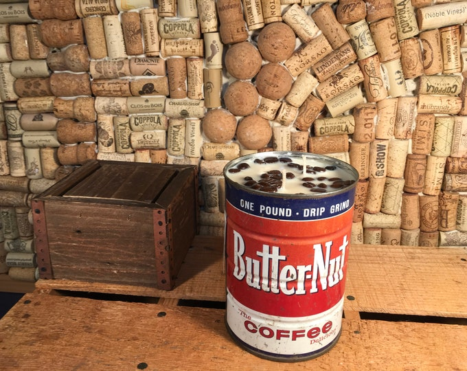 FREE SHIPPING! Vintage Coffee Tin Can, Triple Wick Soy Hazelnut Coffee scented candle