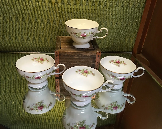 FREE SHIPPING! Set of Four Johann Haviland Moss Rose Floral Tea Cups and Saucers, bone china, Germany