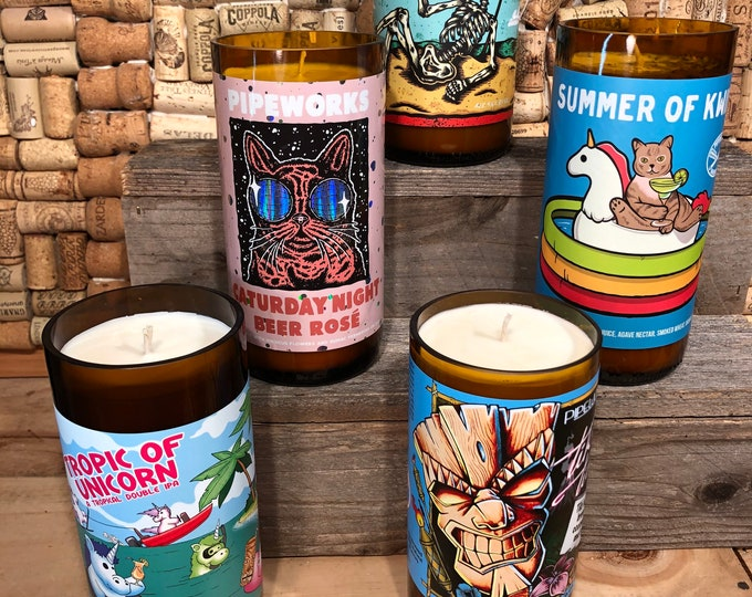 FREE SHIPPING! Soy candle in a Chicago Pipeworks beer bootle, choose your bottle