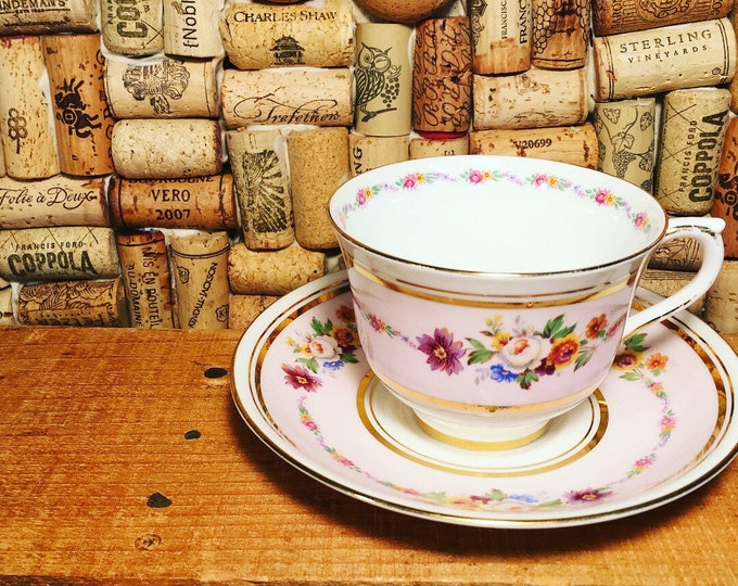 FREE SHIPPING! Rare Colclough Cup and Saucer floral #5408