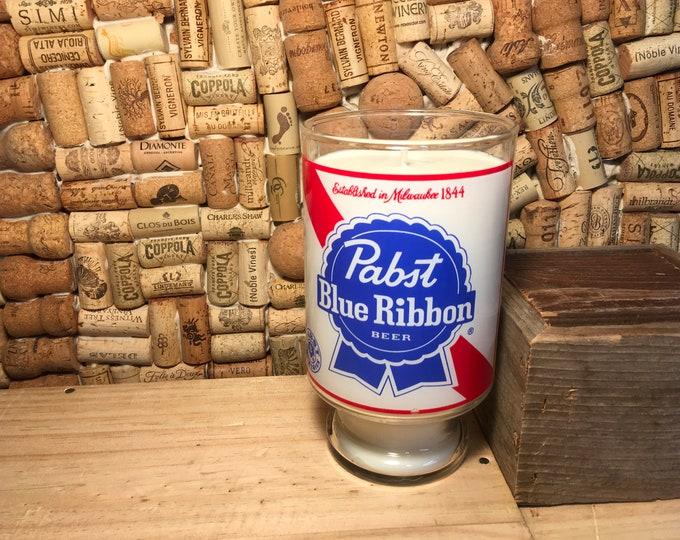 FREE SHIPPING! Vintage Pabst Blue Ribbon PBR vase with a Soy Indian Sandalwood Candle