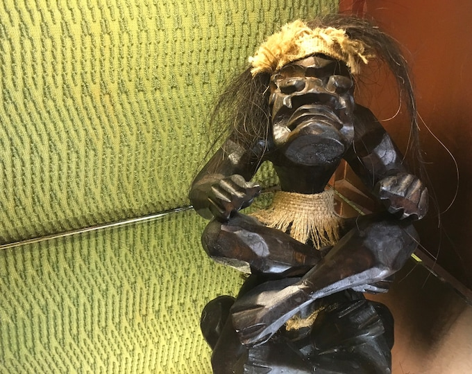 FREE SHIPPING! Hand carved vintage Tiki God with coconut hair
