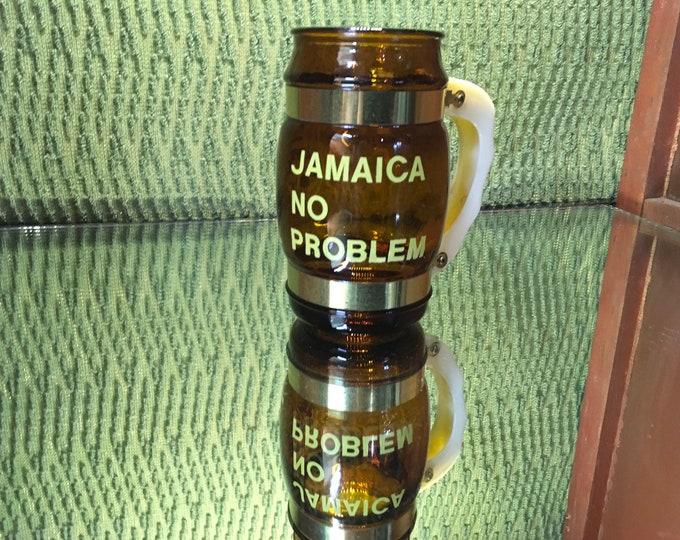 FREE SHIPPING! Vintage glass Jamacia TIKI  mug with a plastic handle