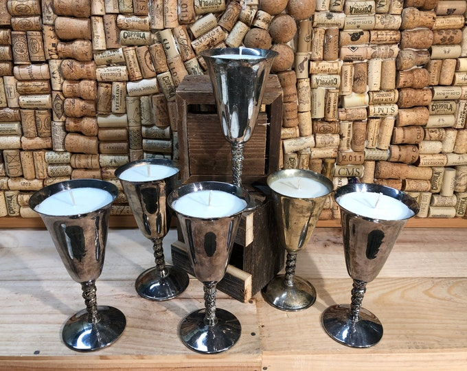FREE SHIPPING! Vintage Silver Champage Flute, Champagne Cocktail scented candle